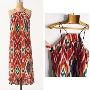 Anthropologie Recoleta 100% silk Ikat midi dress S